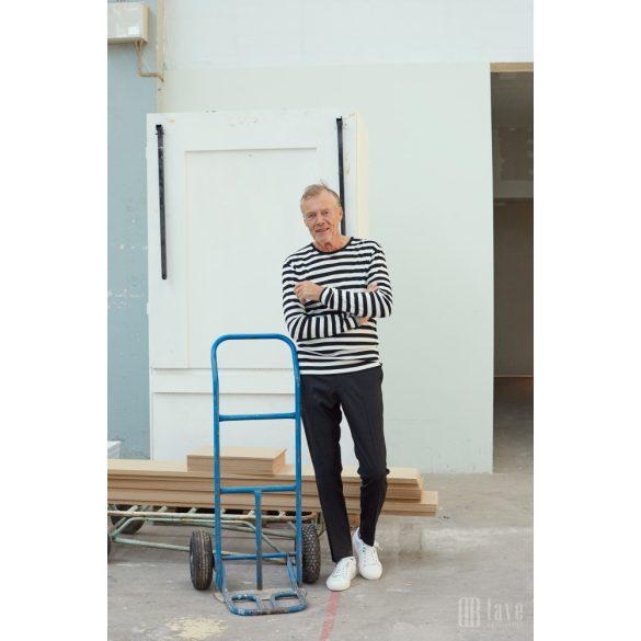 Mads Nørgaard ● Tobias Long Midi Rib ● fekete és ekrü csíkos hosszú ujjú póló