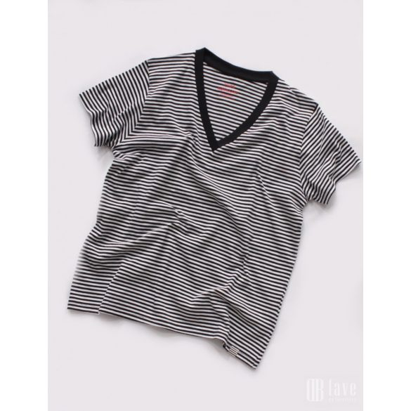 Mads Nørgaard ● Organic Favorite Stripe Trimmy V ● fekete és fehér csíkos rövid ujjú póló