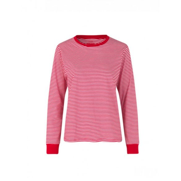 Mads  Nørgaard ● Organic Favorite Stripe Trimmy ● piros és fehér csíkos hosszú ujjú póló
