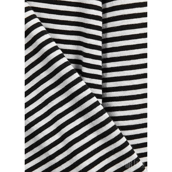 Mads  Nørgaard ● Organic Favorite Stripe Trimmy ● fekete és fehér csíkos hosszú ujjú póló