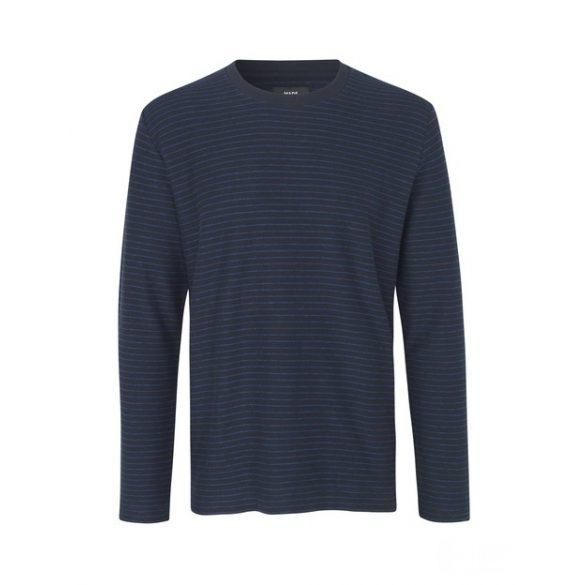 Mads Nørgaard ● Slub Stripe Timo ● kék csíkos hosszú ujjú póló