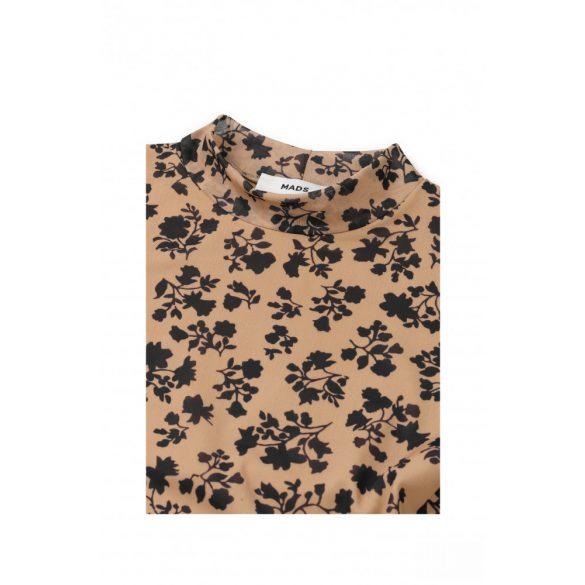 Mads  Nørgaard ● Flower Mesh Drusella ● barna alapon fekete virágmintás hosszú ujjú ruha