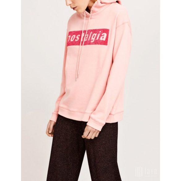 Samsøe & Samsøe ● Apo ● rózsaszín feliratos kapucnis pulóver
