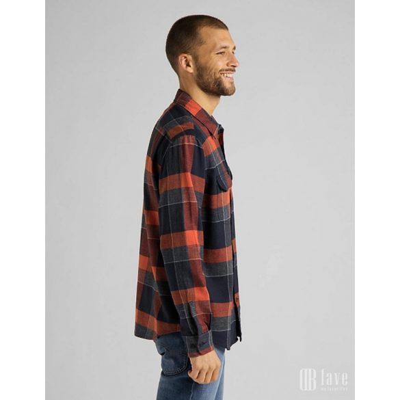 Lee ● Worker Shirt ● sötétszürke narancs kockás hosszú ujjú kabát ing