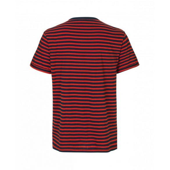 Samsøe & Samsøe ● Emmo stripe ● sötétkék piros csíkos rövid ujjú póló