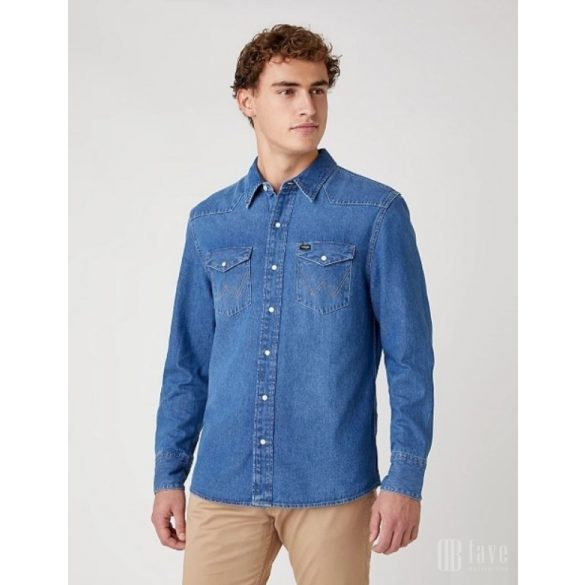 Wrangler ● 27MW Western Shirt ● kék koptatott hosszú ujjú farmering