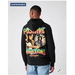 Wrangler ● Vibrations Hoodie ● fekete kapucnis pulóver (Bob Marley kollekció)